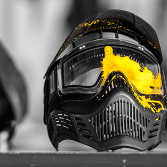 Paintball,Mask,With,Yellow,Shot,Mark.